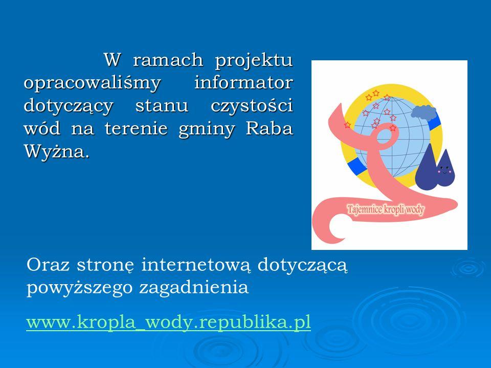 W ramach projektu opracowaliśmy informator dotyczący stanu czystości wód na terenie gminy Raba Wyżna.