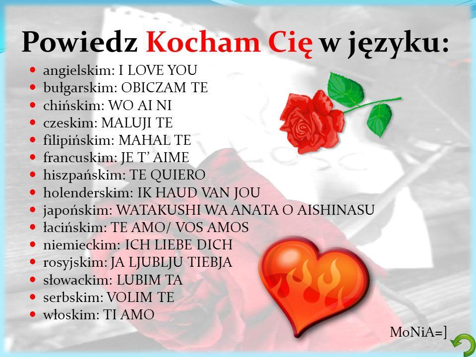 Powiedz Kocham Cię w języku: