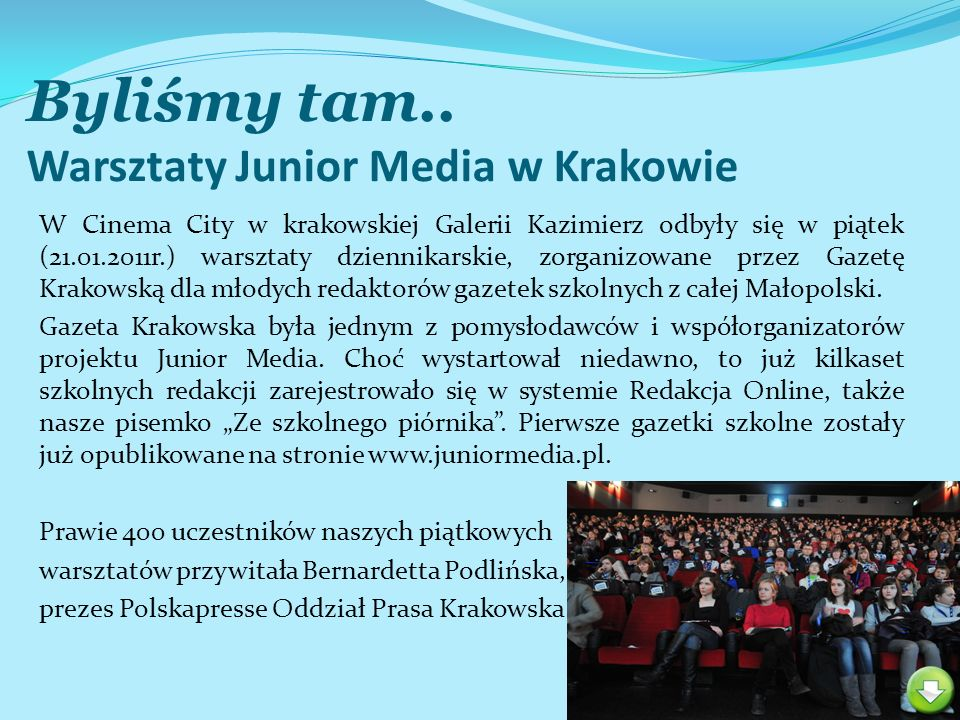 Byliśmy tam.. Warsztaty Junior Media w Krakowie