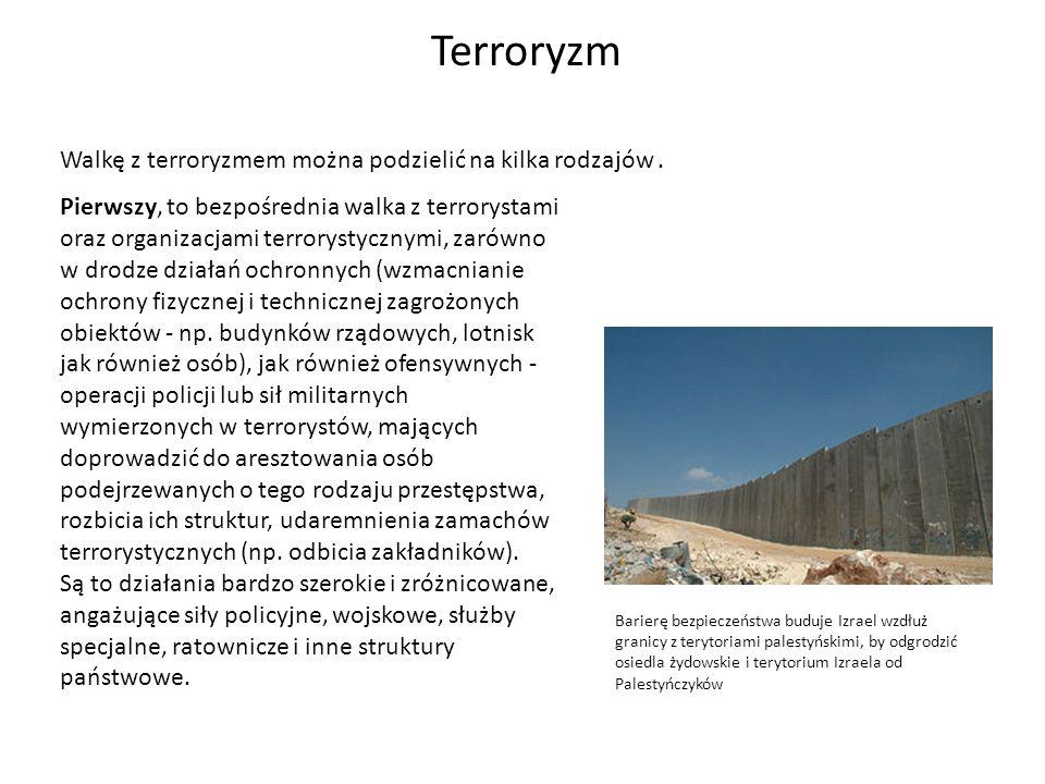 Terroryzm Walkę z terroryzmem można podzielić na kilka rodzajów .