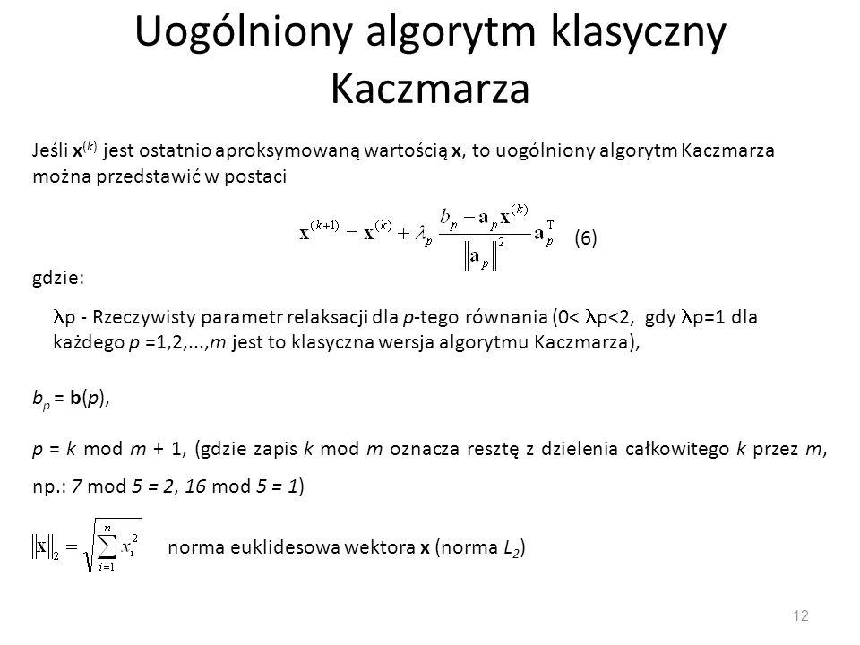 Uogólniony algorytm klasyczny Kaczmarza