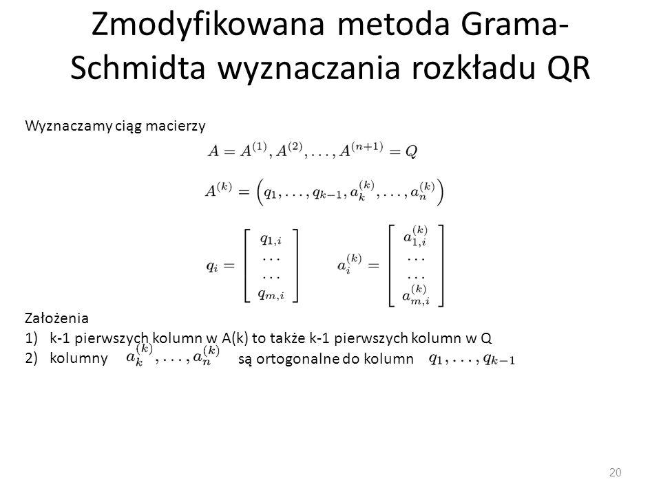Zmodyfikowana metoda Grama-Schmidta wyznaczania rozkładu QR