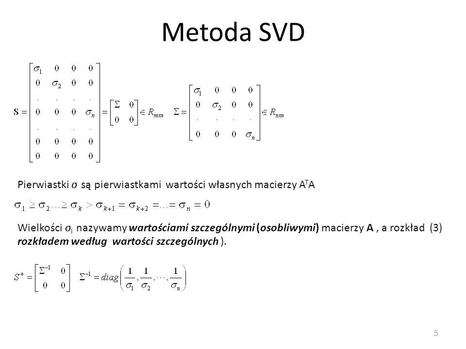 Metoda SVD Pierwiastki  są pierwiastkami wartości własnych macierzy ATA.