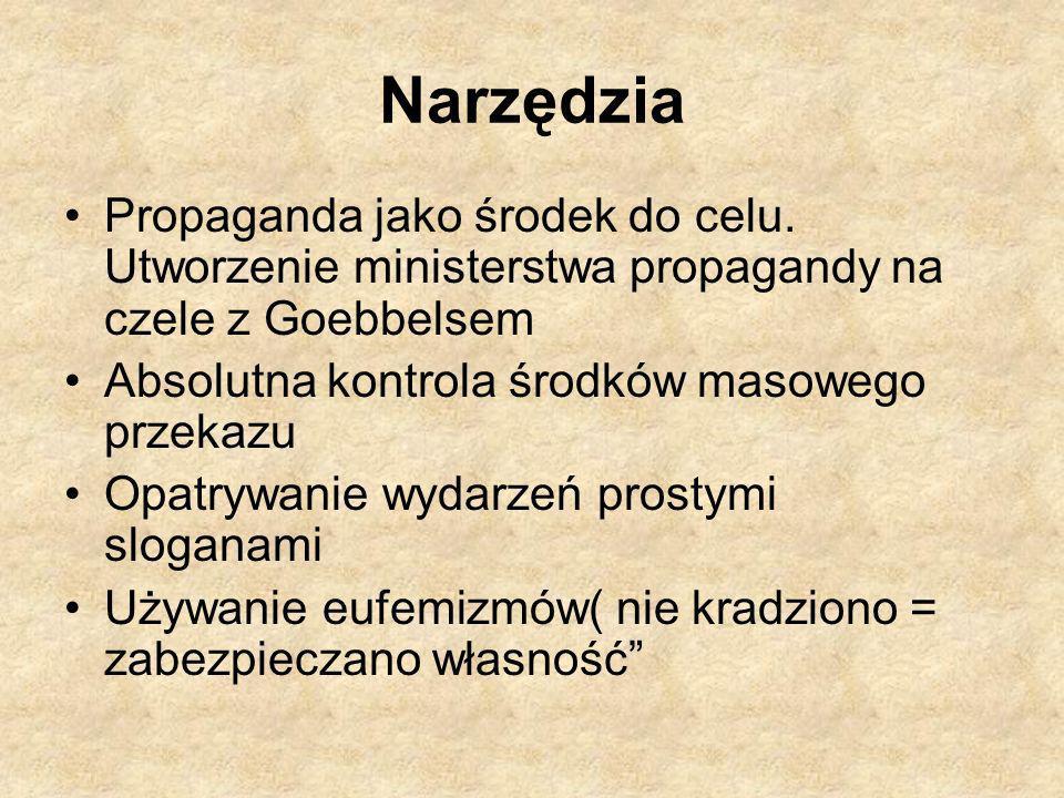 Narzędzia Propaganda jako środek do celu. Utworzenie ministerstwa propagandy na czele z Goebbelsem.