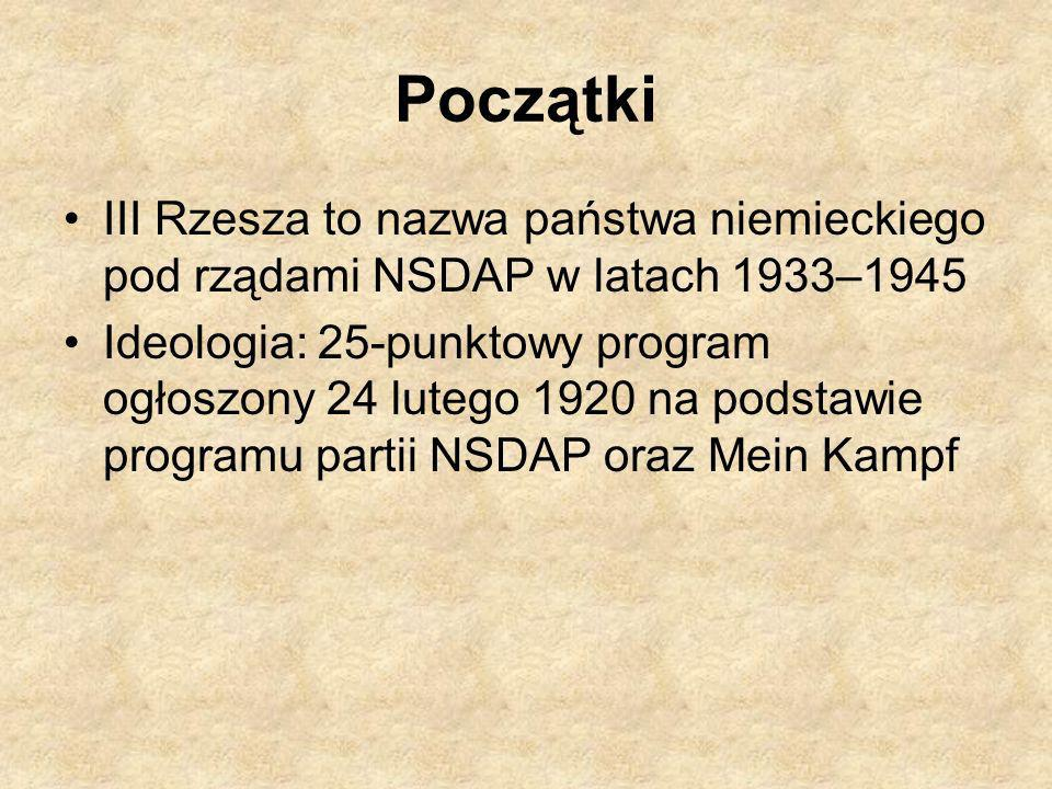 Początki III Rzesza to nazwa państwa niemieckiego pod rządami NSDAP w latach 1933–1945.