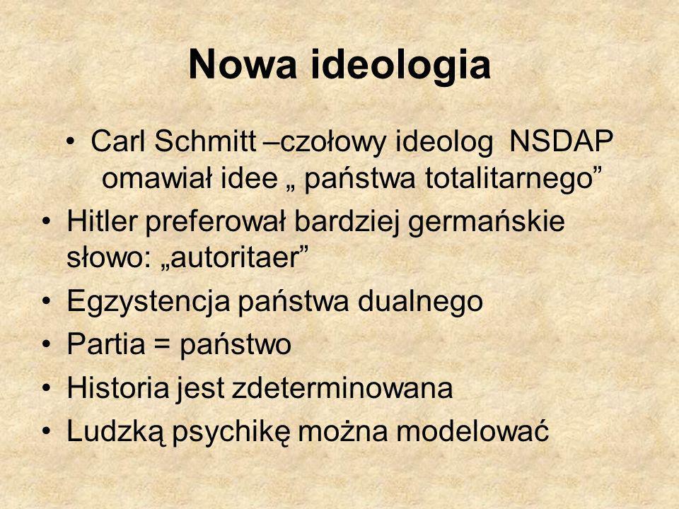 """Nowa ideologia Carl Schmitt –czołowy ideolog NSDAP omawiał idee """" państwa totalitarnego Hitler preferował bardziej germańskie słowo: """"autoritaer"""