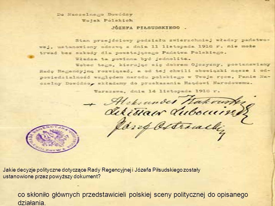Jakie decyzje polityczne dotyczące Rady Regencyjnej i Józefa Piłsudskiego zostały