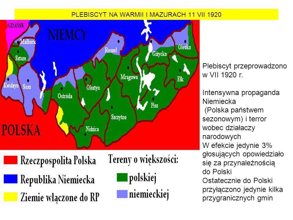 PLEBISCYT NA WARMII I MAZURACH 11 VII 1920