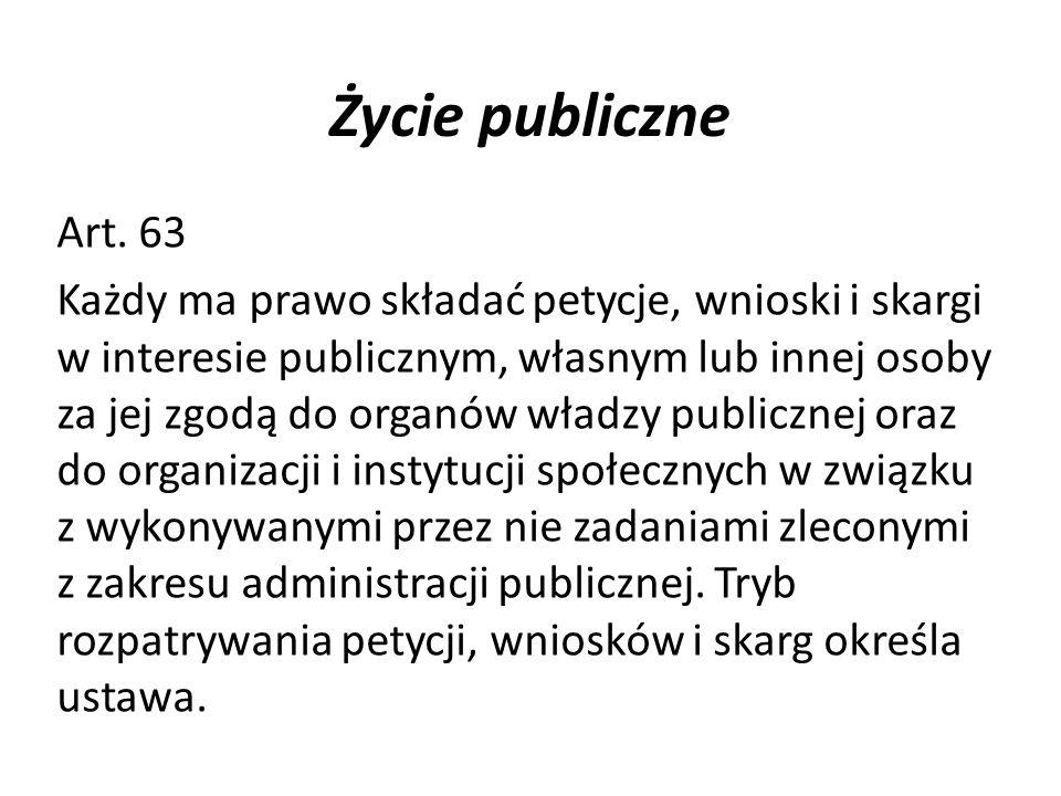 Życie publiczneArt. 63.