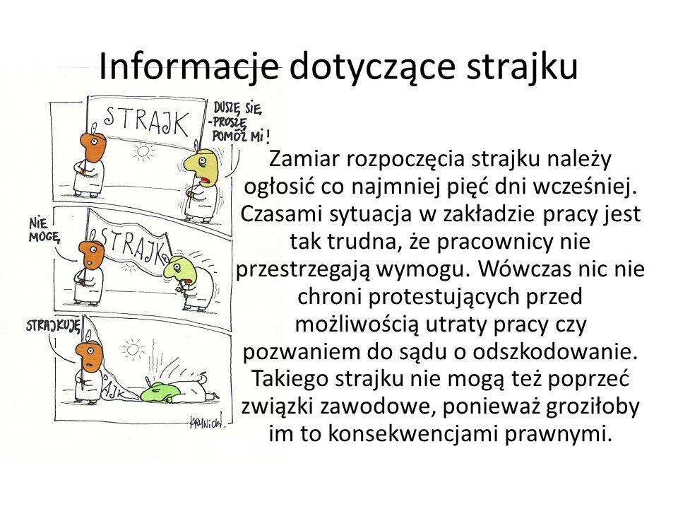 Informacje dotyczące strajku