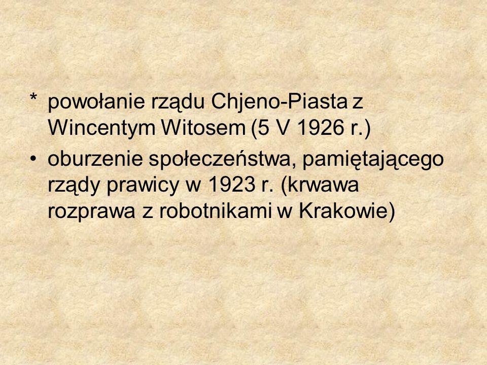 * powołanie rządu Chjeno-Piasta z Wincentym Witosem (5 V 1926 r.)