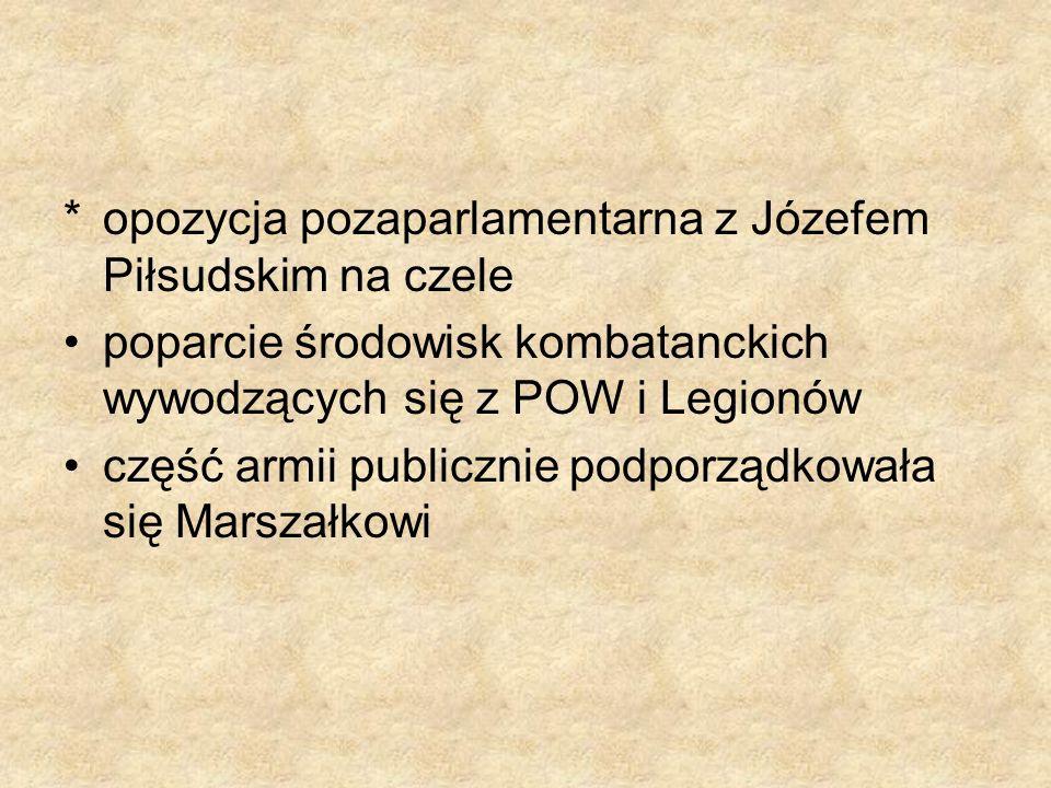 * opozycja pozaparlamentarna z Józefem Piłsudskim na czele