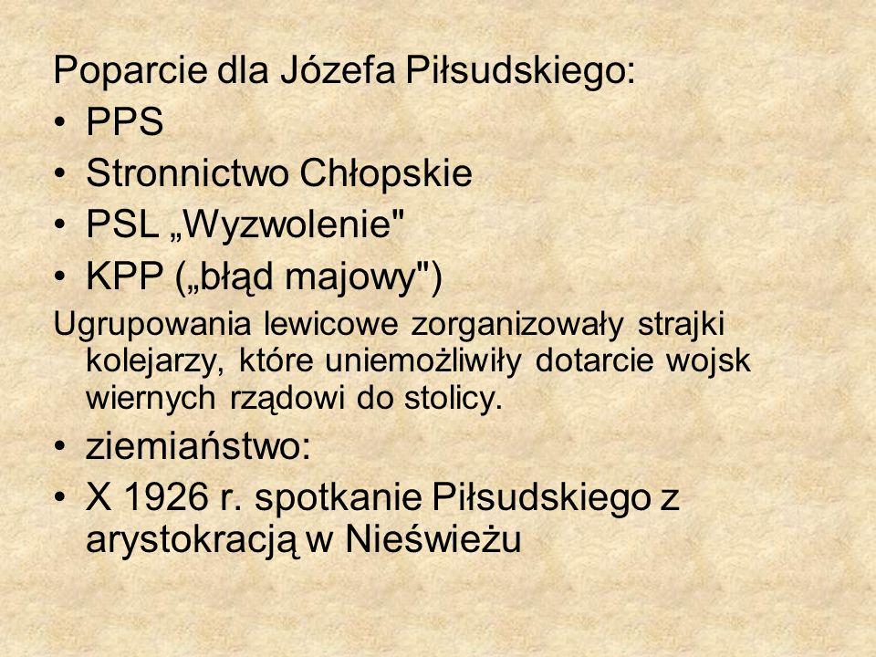 Poparcie dla Józefa Piłsudskiego: PPS Stronnictwo Chłopskie