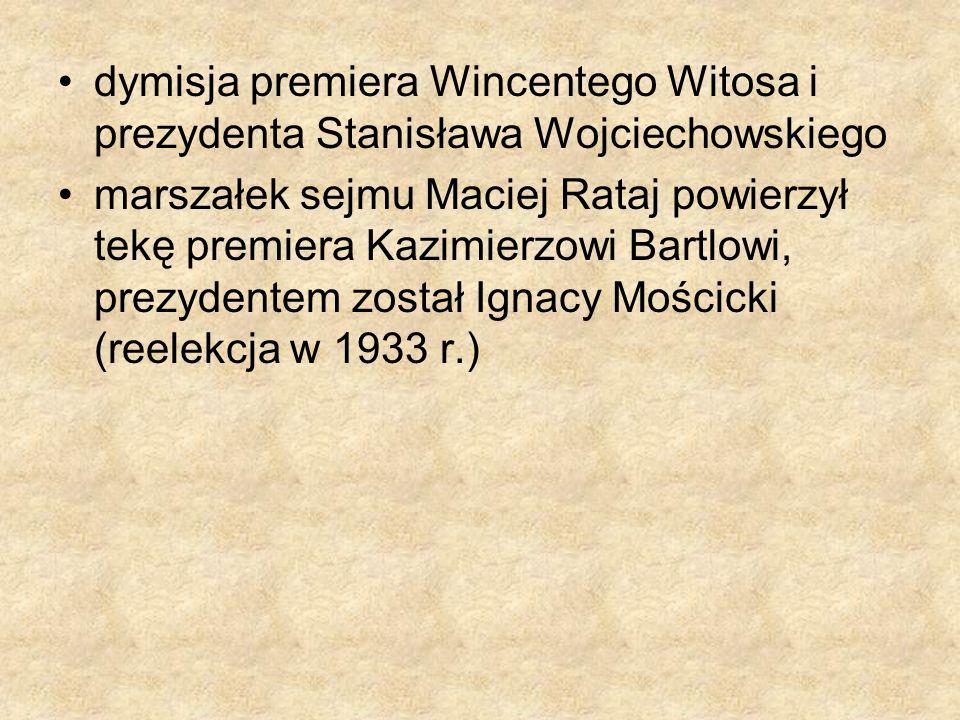 dymisja premiera Wincentego Witosa i prezydenta Stanisława Wojciechowskiego