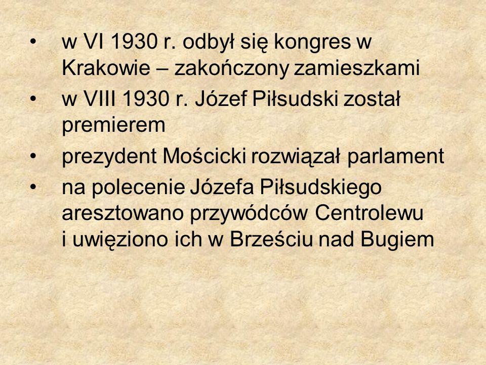 w VI 1930 r. odbył się kongres w Krakowie – zakończony zamieszkami