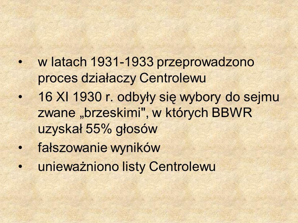 w latach 1931-1933 przeprowadzono proces działaczy Centrolewu