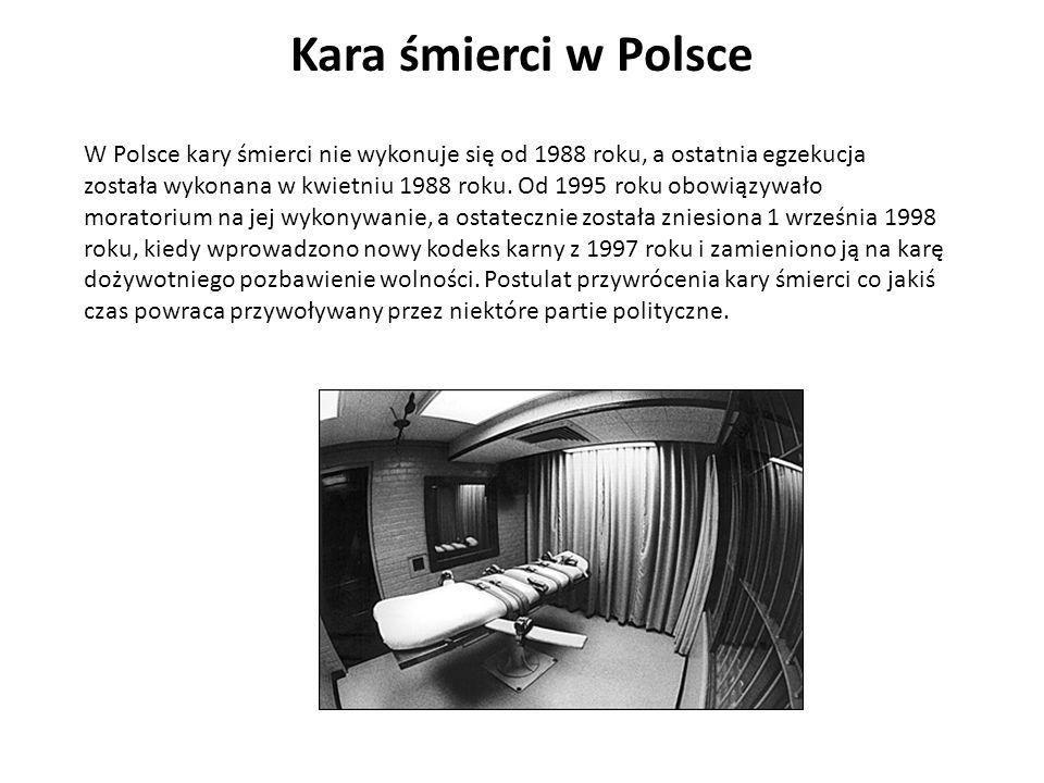 Kara śmierci w Polsce W Polsce kary śmierci nie wykonuje się od 1988 roku, a ostatnia egzekucja.
