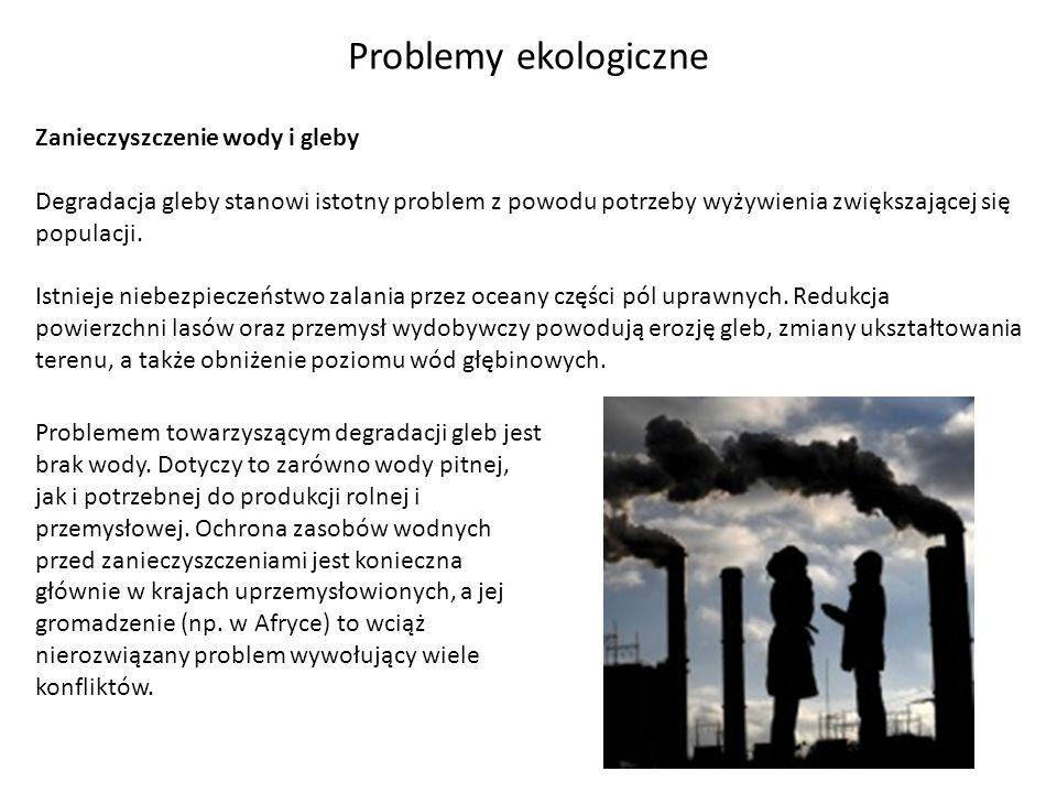 Problemy ekologiczne Zanieczyszczenie wody i gleby