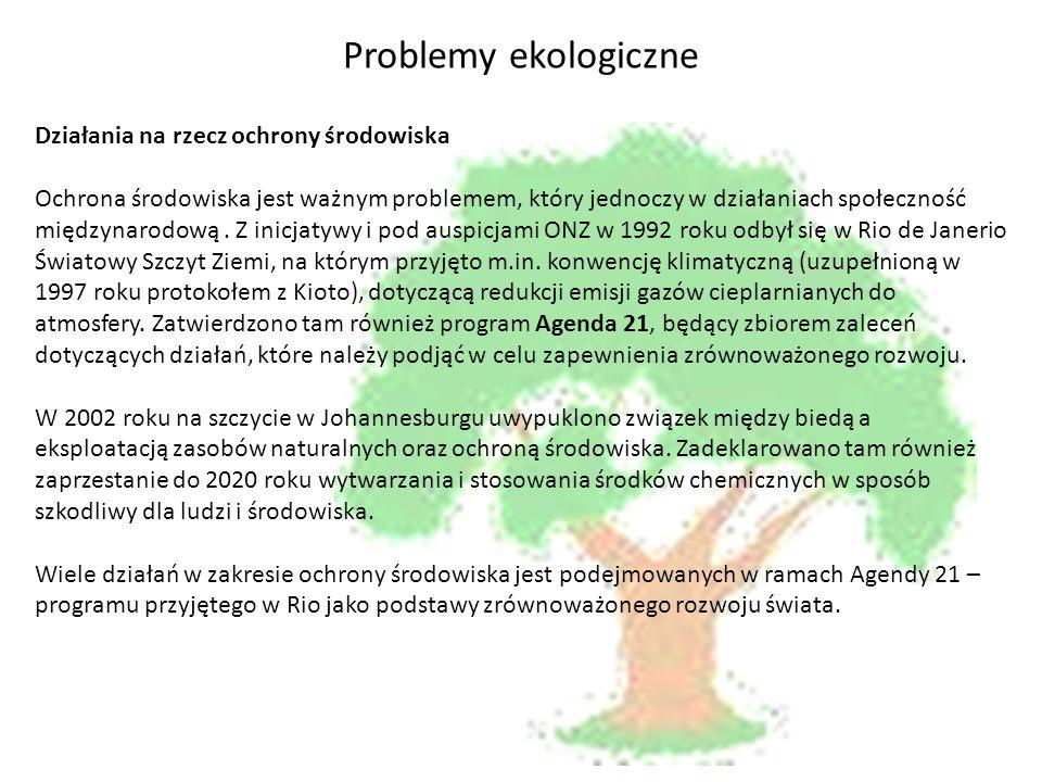 Problemy ekologiczne Działania na rzecz ochrony środowiska