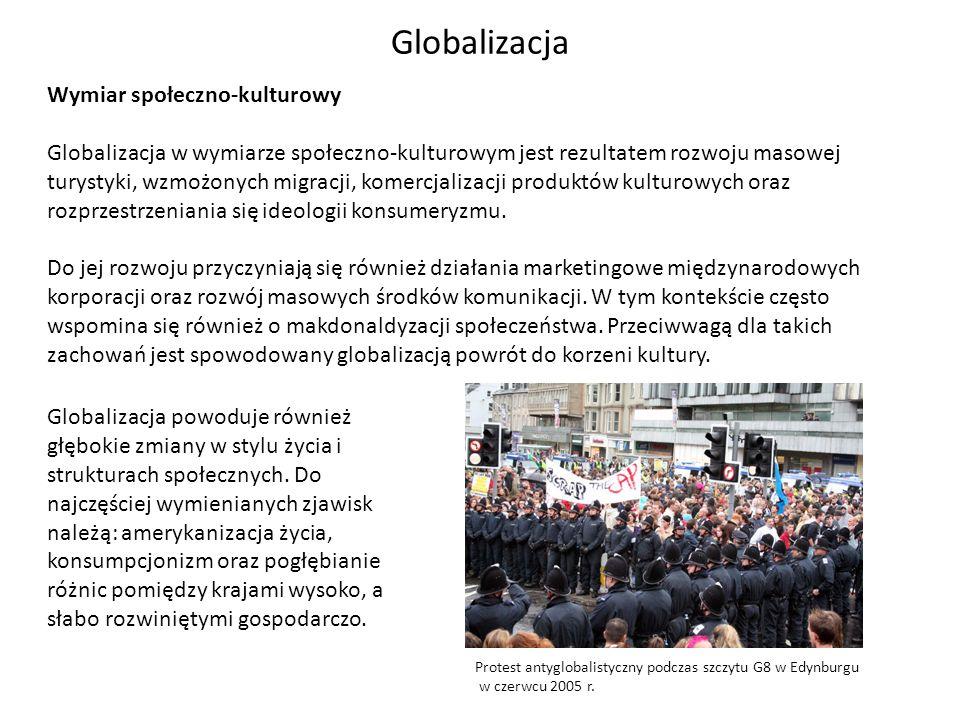 Globalizacja Wymiar społeczno-kulturowy