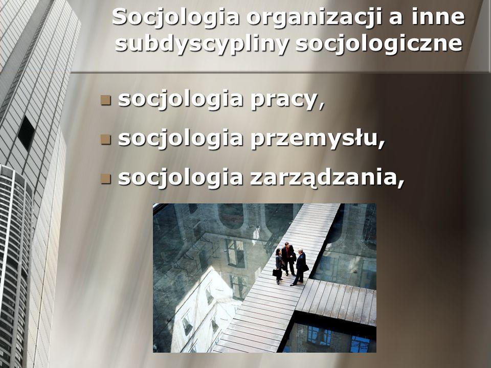 Socjologia organizacji a inne subdyscypliny socjologiczne