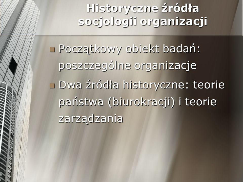 Historyczne źródła socjologii organizacji