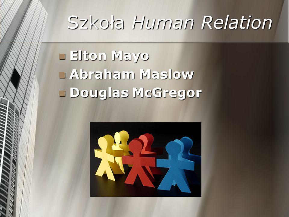 Szkoła Human Relation Elton Mayo Abraham Maslow Douglas McGregor