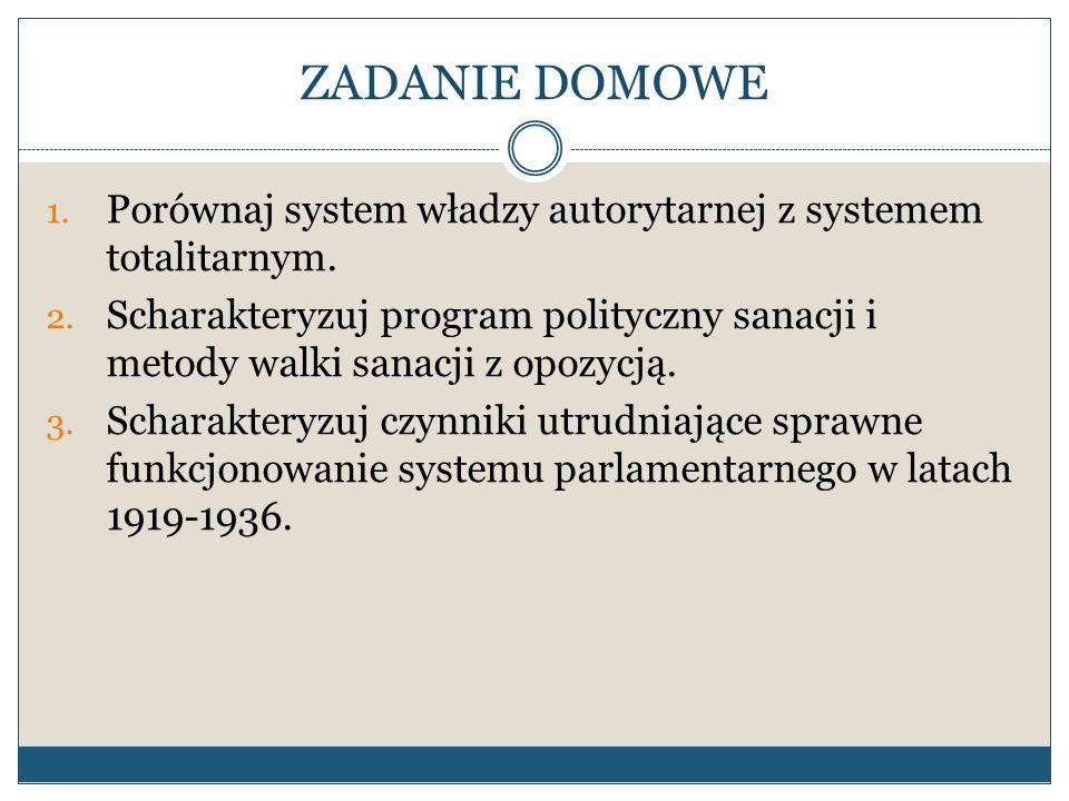 ZADANIE DOMOWEPorównaj system władzy autorytarnej z systemem totalitarnym.