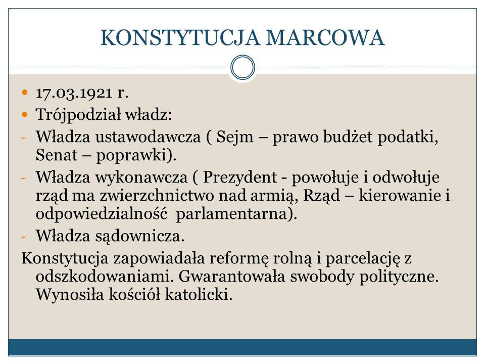KONSTYTUCJA MARCOWA 17.03.1921 r. Trójpodział władz: