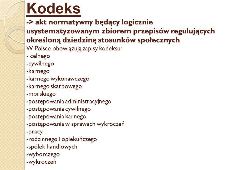 Kodeks -> akt normatywny będący logicznie usystematyzowanym zbiorem przepisów regulujących określoną dziedzinę stosunków społecznych W Polsce obowiązują zapisy kodeksu: - celnego -cywilnego -karnego -karnego wykonawczego -karnego skarbowego -morskiego -postępowania administracyjnego -postępowania cywilnego -postępowania karnego -postępowania w sprawach wykroczeń -pracy -rodzinnego i opiekuńczego -spółek handlowych -wyborczego -wykroczeń