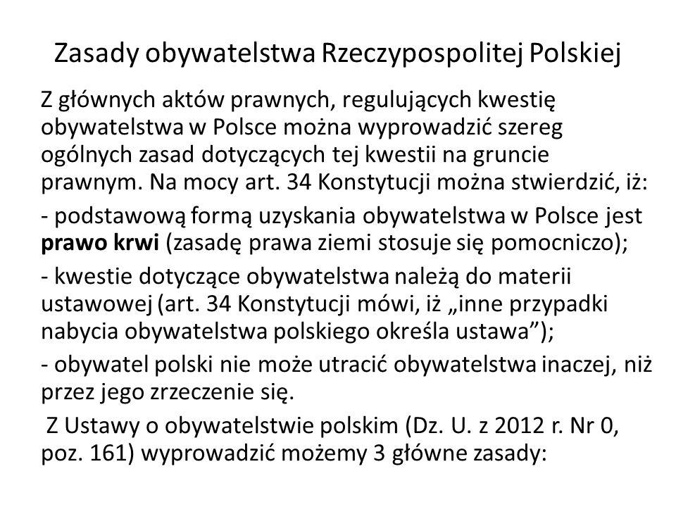 Zasady obywatelstwa Rzeczypospolitej Polskiej