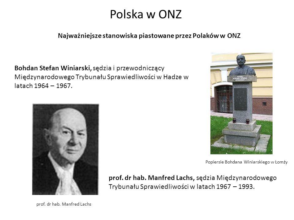 Najważniejsze stanowiska piastowane przez Polaków w ONZ