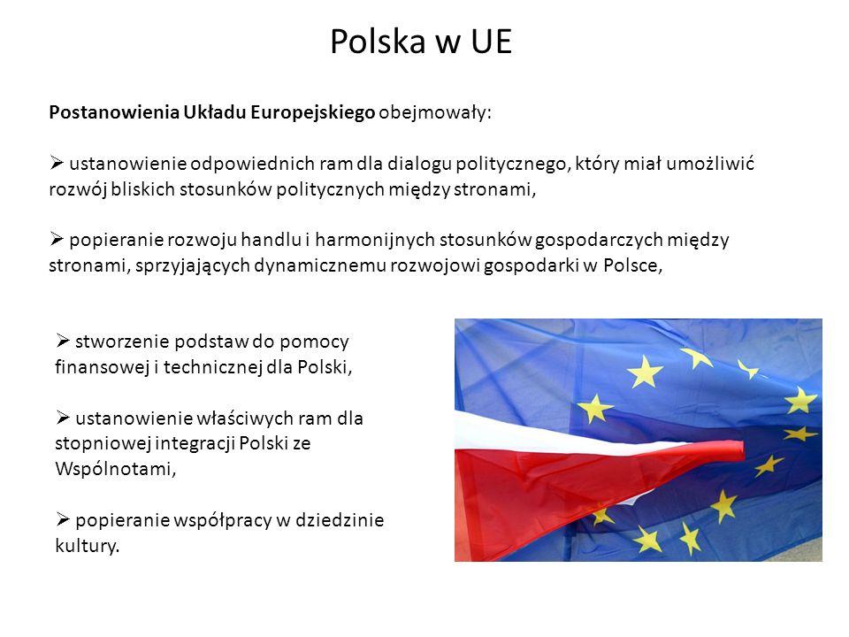 Polska w UE Postanowienia Układu Europejskiego obejmowały: