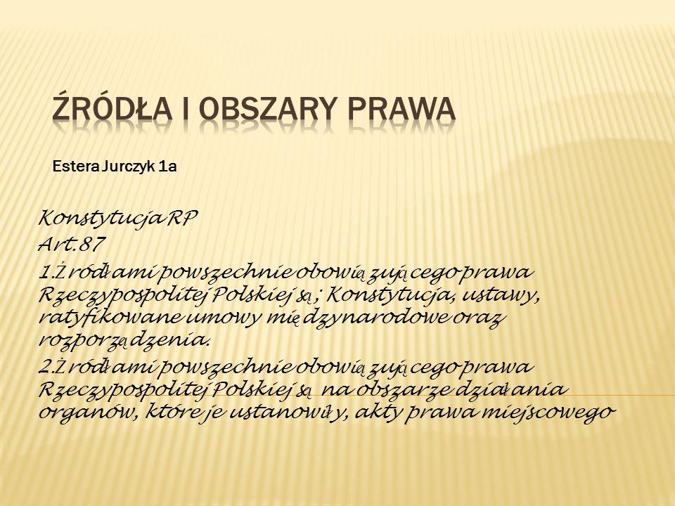 Źródła i obszary prawa Konstytucja RP Art.87