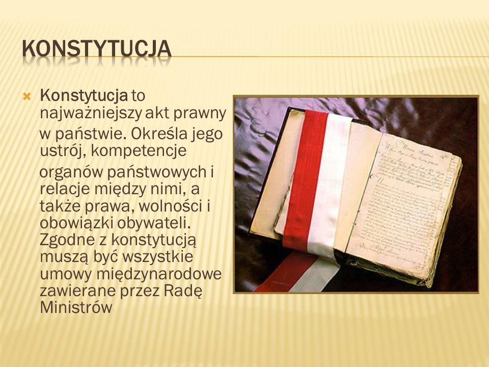 Konstytucja Konstytucja to najważniejszy akt prawny