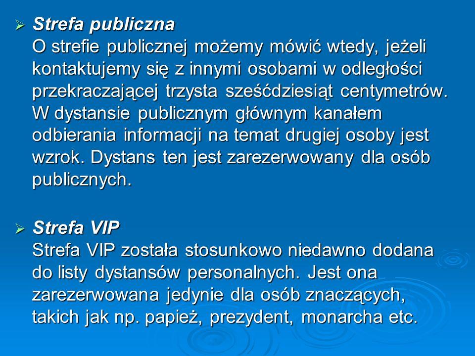 Strefa publiczna O strefie publicznej możemy mówić wtedy, jeżeli kontaktujemy się z innymi osobami w odległości przekraczającej trzysta sześćdziesiąt centymetrów. W dystansie publicznym głównym kanałem odbierania informacji na temat drugiej osoby jest wzrok. Dystans ten jest zarezerwowany dla osób publicznych.