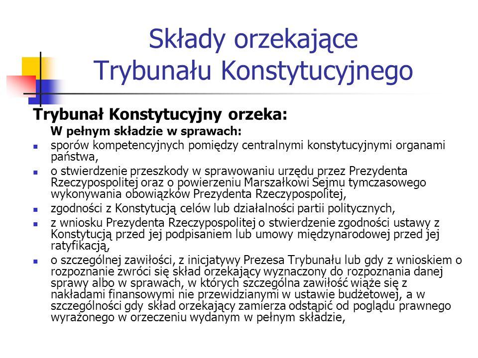 Składy orzekające Trybunału Konstytucyjnego