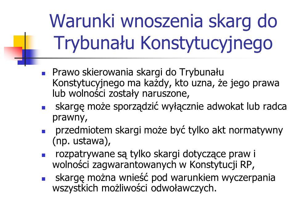 Warunki wnoszenia skarg do Trybunału Konstytucyjnego