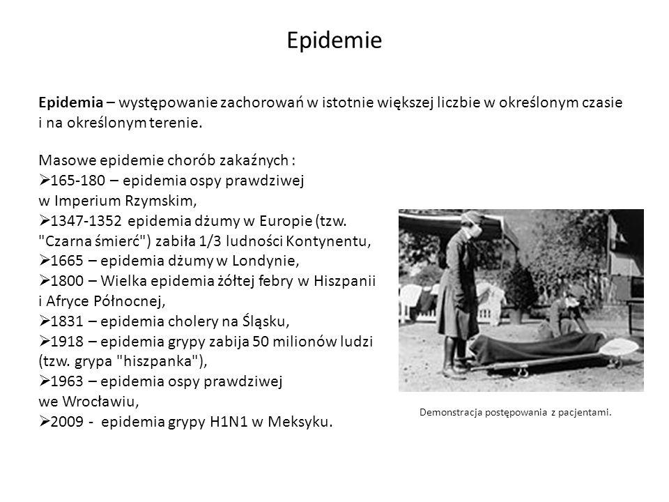 Epidemie Epidemia – występowanie zachorowań w istotnie większej liczbie w określonym czasie i na określonym terenie.