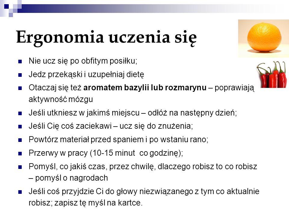 Ergonomia uczenia się Nie ucz się po obfitym posiłku;