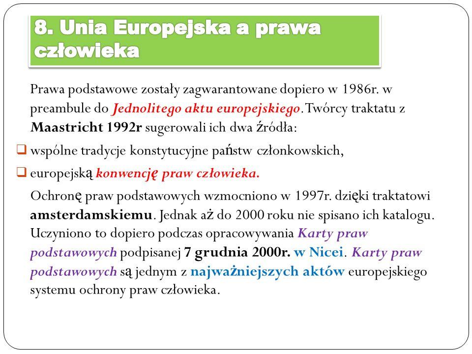 8. Unia Europejska a prawa człowieka