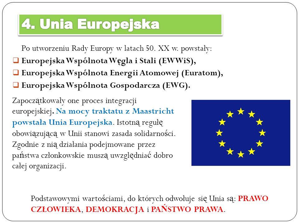 4. Unia Europejska Po utworzeniu Rady Europy w latach 50. XX w. powstały: Europejska Wspólnota Węgla i Stali (EWWiS),