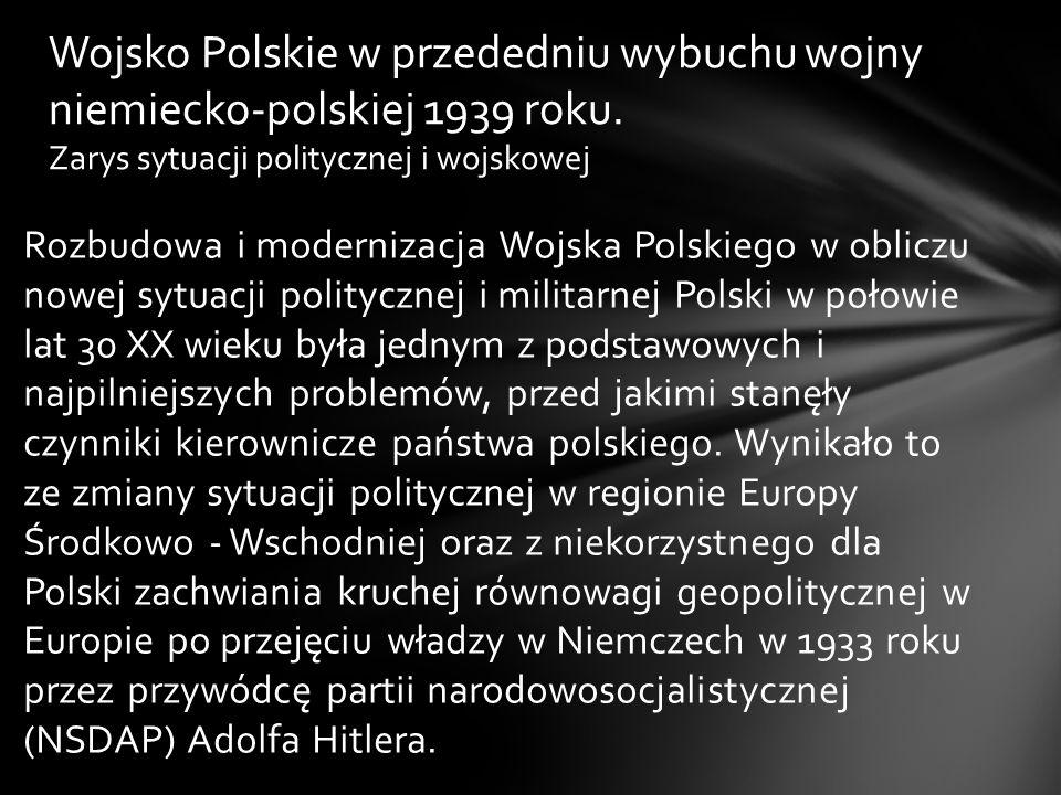 Wojsko Polskie w przededniu wybuchu wojny niemiecko-polskiej 1939 roku