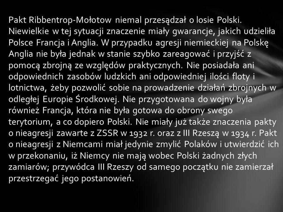 Pakt Ribbentrop-Mołotow niemal przesądzał o losie Polski