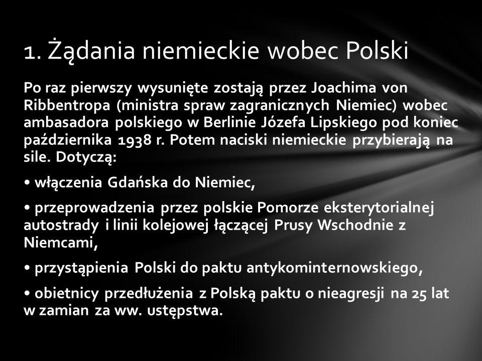1. Żądania niemieckie wobec Polski