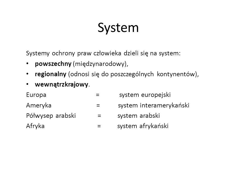 System Systemy ochrony praw człowieka dzieli się na system: