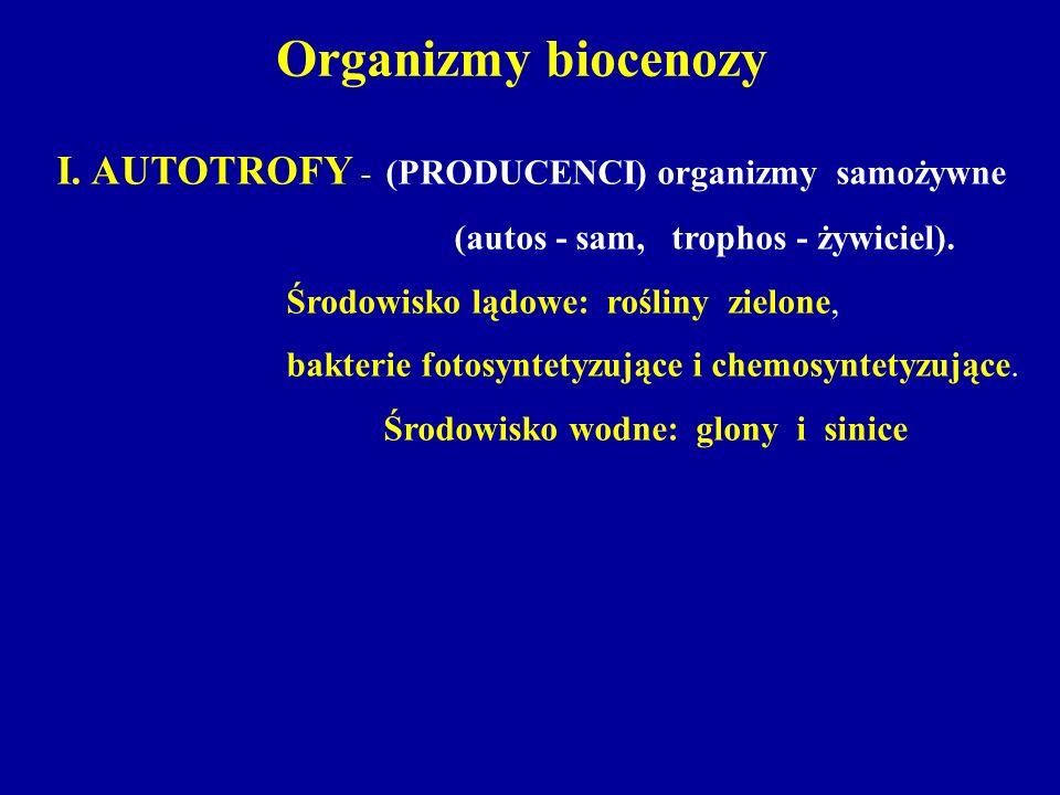Organizmy biocenozy I. AUTOTROFY - (PRODUCENCI) organizmy samożywne