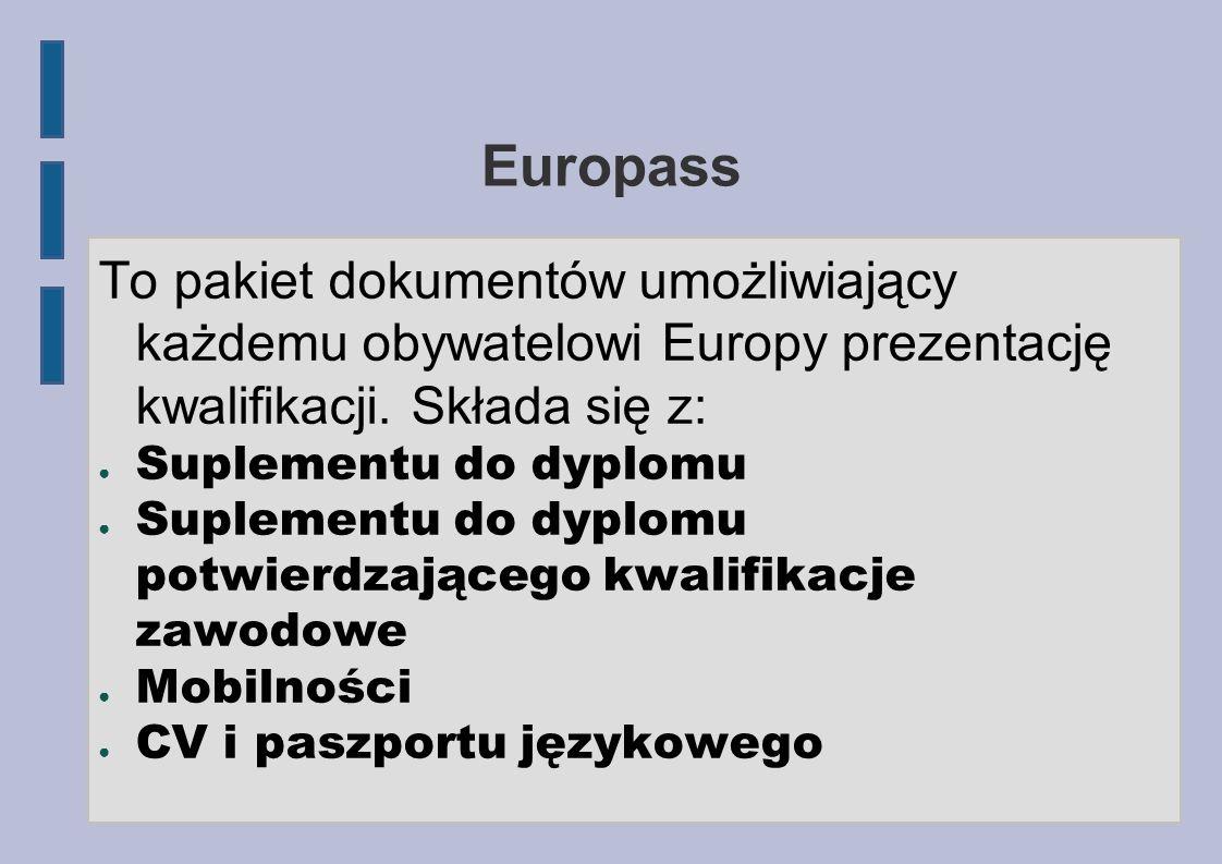 EuropassTo pakiet dokumentów umożliwiający każdemu obywatelowi Europy prezentację kwalifikacji. Składa się z:
