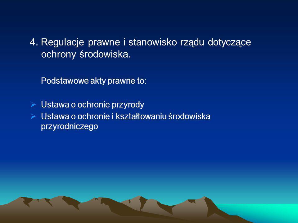 4. Regulacje prawne i stanowisko rządu dotyczące ochrony środowiska.