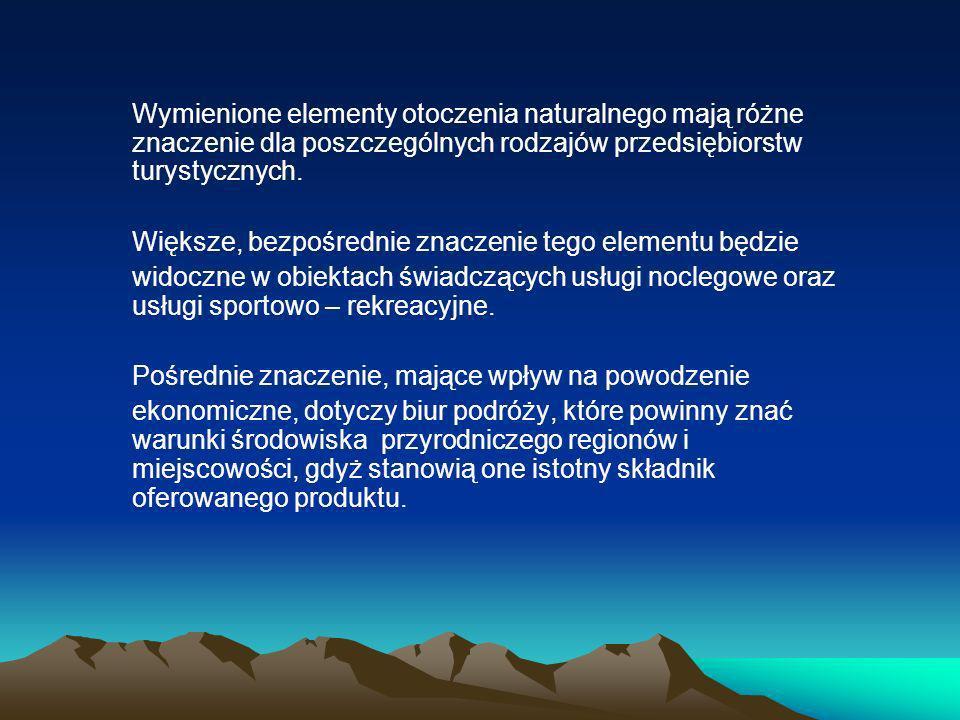 Wymienione elementy otoczenia naturalnego mają różne znaczenie dla poszczególnych rodzajów przedsiębiorstw turystycznych.